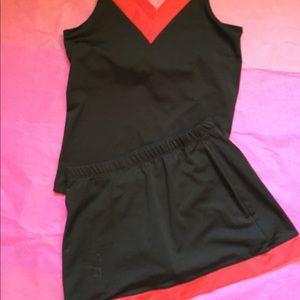 Peachy Tan tennis top and skirt